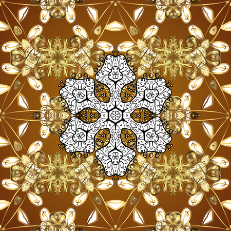 Golden element on yellow background. Damask seamless pattern repeating background. Gold Sketch on texture background. Gold yellow floral ornament in baroque style. Stock Photo