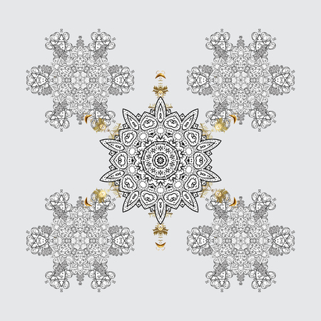Snowflake design in gray colors. Snow flakes background with doodles and golden elements.