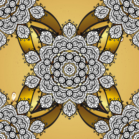 Oriental ornament. Golden pattern on yellow background with golden elements. Golden pattern. Stock Photo