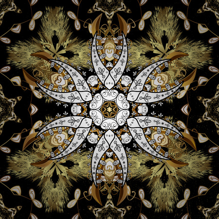 Oriental ornament in the style of baroque. Traditional classic vector golden pattern. Black background with golden elements.