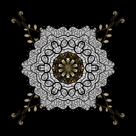 Gold black floral ornament in baroque style. Golden element on black background. Golden floral wallpaper. Damask background. Illustration