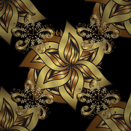 Traditional orient ornament. Seamless pattern on black background with golden elements. Classic vintage background. Seamless classic vector golden pattern. Illustration