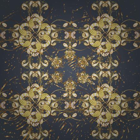 attern: ?attern on gray background with golden elements. Vector golden pattern. Oriental style arabesques. Golden textured curls.
