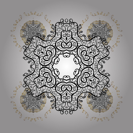 Abstract with Floral Elements. Vector winter pattern. Snowflakes design on white background in white colors. Golden elements. Illustration