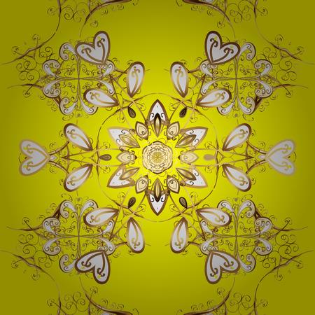 Vector illustration pattern. Golden pattern on yellow background with golden elements. Seamless golden textured curls. Oriental style arabesques. Illustration