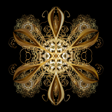 Design. Vector background for Christmas with decorative golden snowflakes. Pattern on black background. Illustration