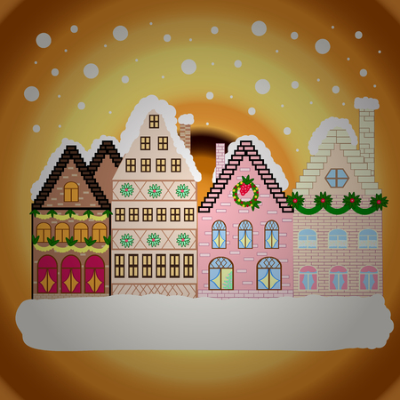 Nature landscape. Winter is coming. Vector illustration. Landscape with nature and houses. Winter city with trees, cute houses, sun.Vector illustration., EPS 10.