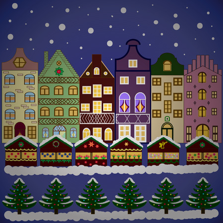 Winter nature landscape. Greeting card, poster design. Cityscape. Vector. New year holidays. Cute town Christmas eve. Winter houses, road, tree. Winter in the city, christmas decor fir-trees. Illustration