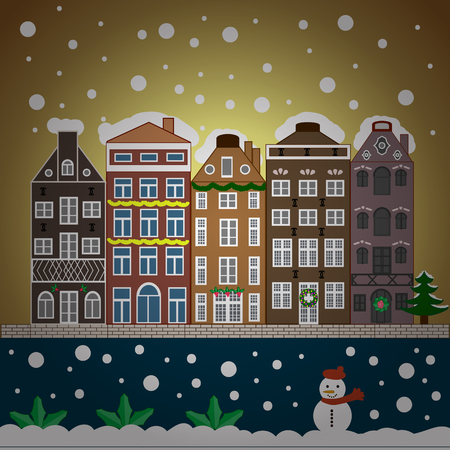 Urban winter landscape. Snowy street. Christmas card Happy Holidays banner. Flat design. Vector illustration.