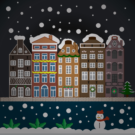 snow chain: Evening village winter landscape with snow cove houses. Background. Christmas winter scene. Vector illustration.
