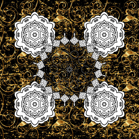 Gold black floral ornament in baroque style. Golden element on black background. Gold Wallpaper on texture background.Damask pattern repeating background.