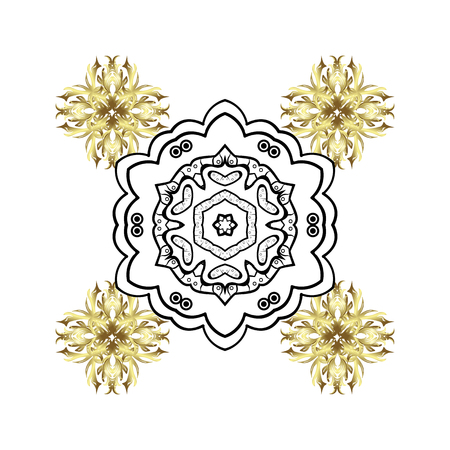 Snowflakes winter New Year frame in white colors with golden elements.