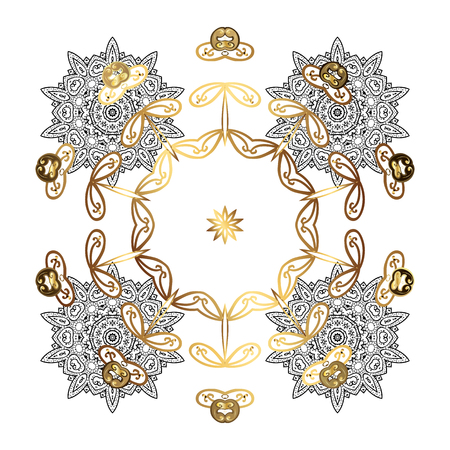 diversified: Snowflakes winter New Year frame in white colors with golden elements.