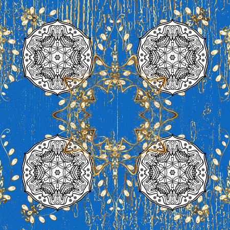 Damask repeating background. Golden floral ornament in baroque style. Antique golden repeatable wallpaper. Golden element on blue background.