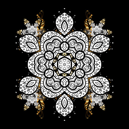 intertwined: Christmas, snowflake, new year. Vintage pattern on black background with golden elements and with white doodles.