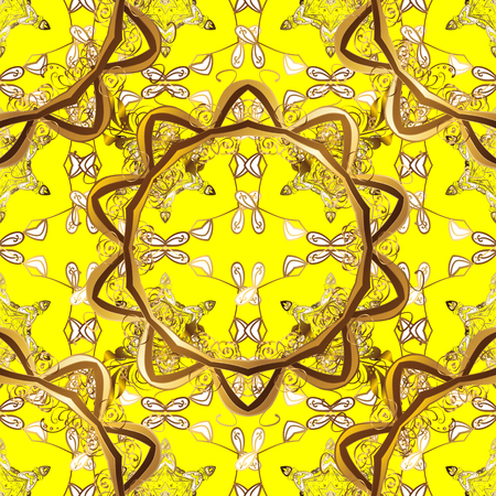 intertwined: Seamless golden pattern. Golden pattern on yellow background with golden elements. Vector illustration. Oriental ornament.