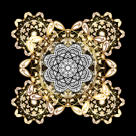 victorian christmas: Traditional classic golden pattern. Golden pattern on black background with golden elements. Vector oriental ornament. Oriental ornament in the style of baroque.