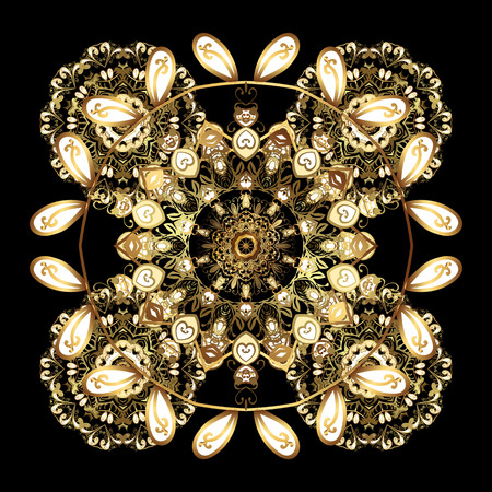 gratitude: Snowflakes, snowfall. Illustration. Falling Christmas stylized gold snowflakes. Beautiful vector golden snowflakes isolated on black background.