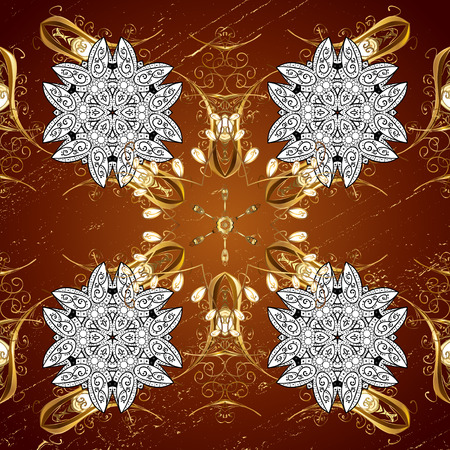 Golden element on a red background. Damask background. Golden floral. Gold floral ornament in baroque style.