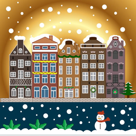 christmastime: Village winter landscape with snow cove houses and christmas tree with Christmas presents.Vector illustration.