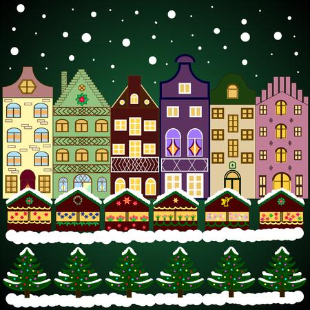 Snowy street. Flat design. Vector illustration. Christmas card Happy Holidays banner. Urban winter landscape.
