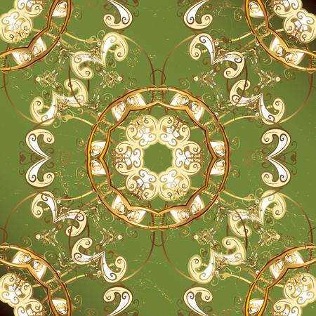 attern: ?attern on green background with golden elements. Vector golden pattern. Oriental style arabesques. Golden textured curls. Illustration
