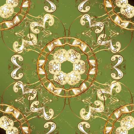 ?attern on green background with golden elements. Vector golden pattern. Oriental style arabesques. Golden textured curls. Illustration