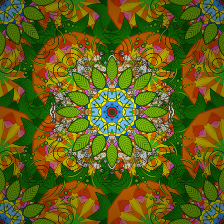 Background with colored ornament mandala, based on ancient greek and islamic ornaments. For wedding invitation, book cover or flyer.
