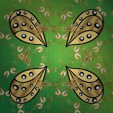 motif d'or sur fond vert avec des éléments dorés. Motif de damassé blanc et doré classique. Vector abstrait avec des éléments répétitifs. Vecteurs