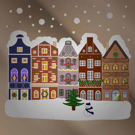 snow chain: Night vector Winter, Christmas urban landscape. Illustration