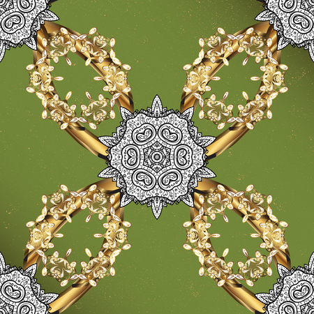 intertwined: Oriental classic golden pattern. Vector abstract background with repeating elements on green background. Vector illustration.