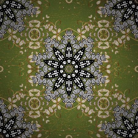골든 요소와 녹색 배경에 황금 패턴입니다.