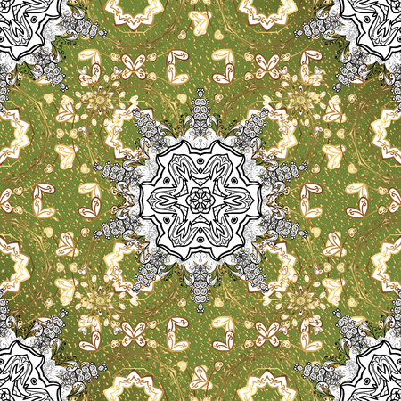 On green background with golden elements. Golden pattern. Vector oriental ornament.
