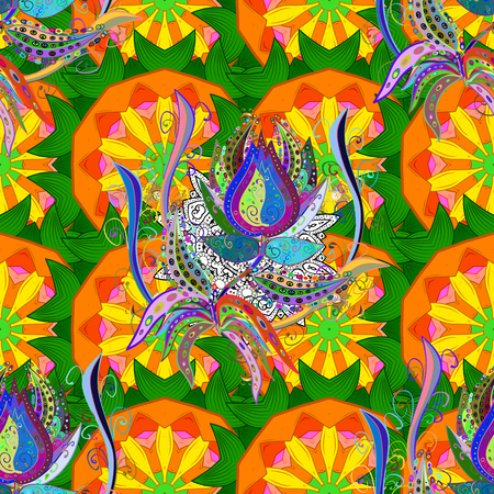 kundalini: Vector mandala with peacock feather. Abstract oriental mandala frame with decorative colored foil. .