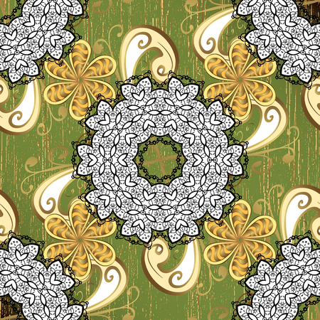Royal luxury golden baroque damask vintage. Vector pattern background sketch with gold antique floral medieval decorative flowers, leaves and gold pattern ornaments on green background. Illustration