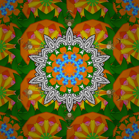 Vector gift voucher template with mandala ornament on a background.