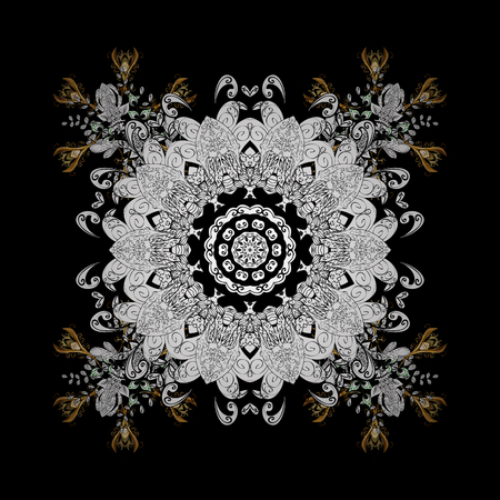 Abstract background. Oriental vector classic black and golden pattern with white doodles.
