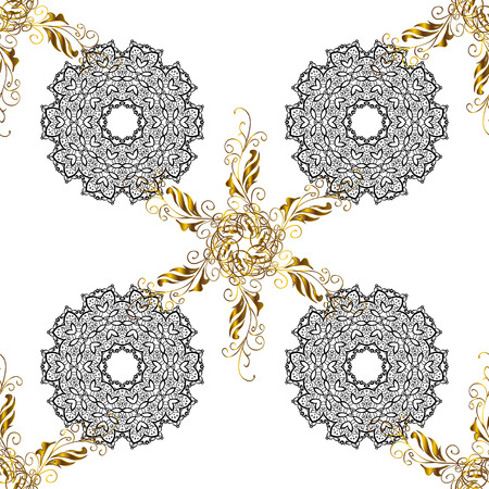 Seamless pattern. Golden floral sketch. Damask background. Gold white floral ornament in baroque style. Golden element on white background.