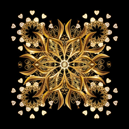 Christmas Stylized Golden snowflakes on a black Background. Repeating Pattern. Vector design.