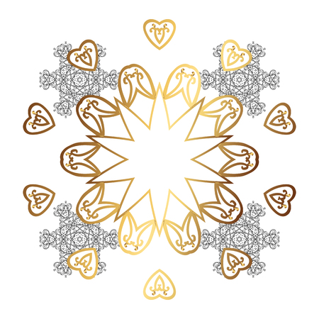 Fine greeting card. Colorful on white background. Winter vector frame with arabesques, doodles and white snowflakes.