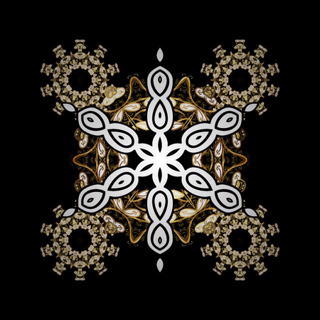 Abstract sketch, wrapping decoration. Vector golden pattern on black background with golden element. Winter symbol, Merry Christmas holiday, Happy New Year 2018. Golden snowflake.