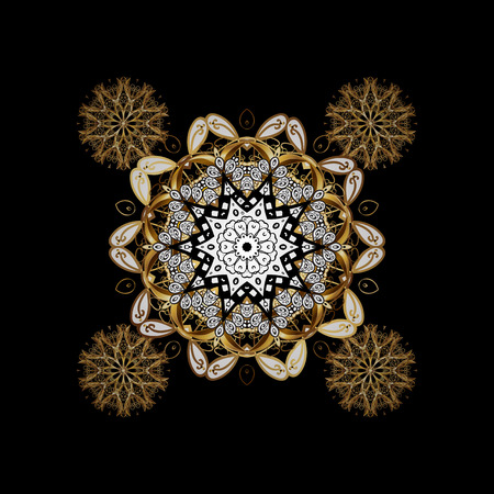 Paisleys elegant floral vector background sketch illustration with vintage stylish beautiful modern 3d line art gold and black paisley flowers, doodles, leaves and ornaments. Векторная Иллюстрация