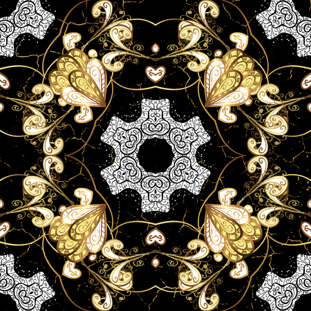Oriental classic golden pattern. Vector abstract background with repeating elements. Black on background. Illustration