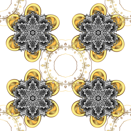 Christmas Stylized white Snowflakes on a White Background. Winter pattern. Vector design with doodles and golden elements.