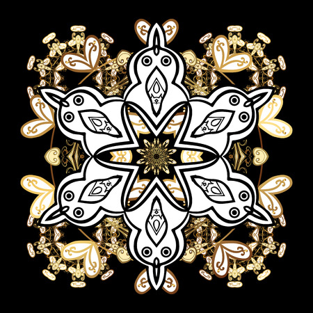 Vector background. Floral pattern. Sketch baroque, damask. Golden elements on black background. Stylish graphic pattern.