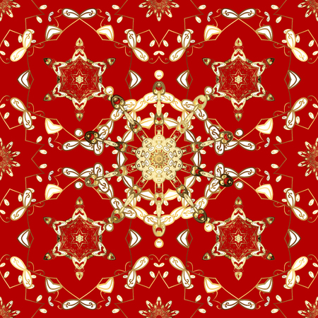 rococo: Seamless damask classic white and golden pattern. Abstract background with repeating elements. Golden pattern on red background with golden elements.