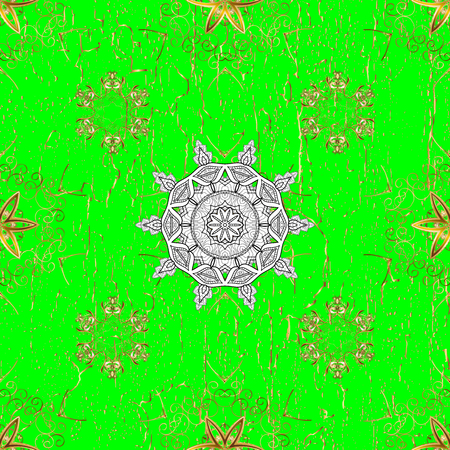 Golden pattern on green background with golden elements. Golden snowflake simple pattern. Symbol of winter, Merry Christmas holiday, Happy New Year 2018. Abstract sketch, wrapping decoration.