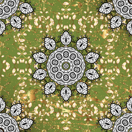 Classic vintage background. Traditional orient ornament. On green background with golden elements. Classic golden pattern.