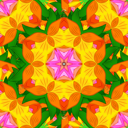elaborate: Mandala. Colored round ornament pattern on a background.