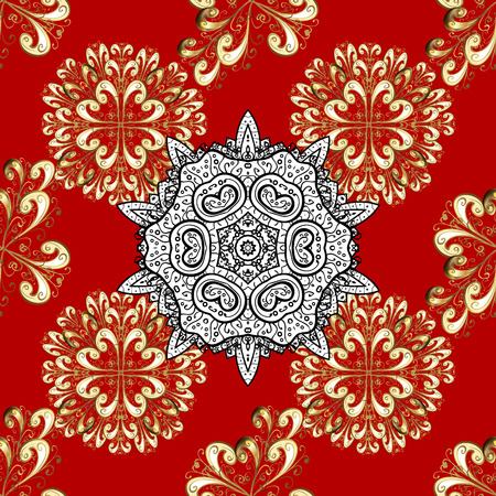 rococo: Gold red floral ornament in baroque style. Damask seamless pattern repeating background. Golden element on red background. Gold Sketch on texture background.